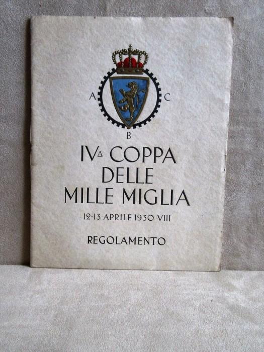 Regolamento IV Mille Miglia 1930